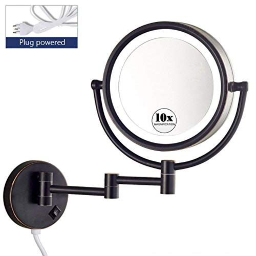 KWEE Makeup Mirror Wall Mount with Lights and Magnification, Double Sided Magnifying -