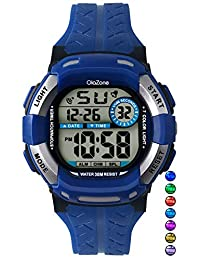 Digital Watch For Boys 7-color Flashing Light Water Resistant 100FT Alarm Watch for age 4-12 (BLUE)