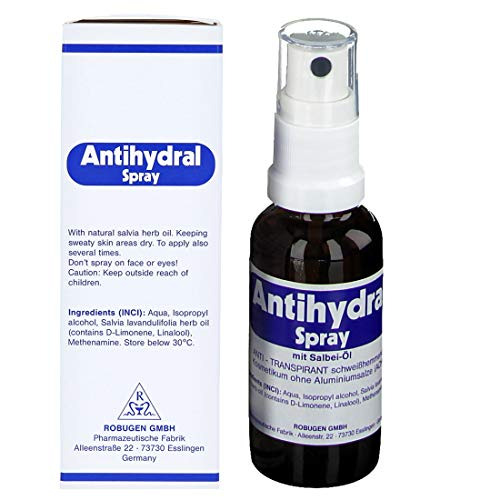 Antihydral Spray 30mL w/Salvia-Sage Herb Oil. Keep Sweaty Hands, Armpits, Foot & Genital Skin Areas Dry. Antiperspirant & Anti-Sweat Protection for Men & Women