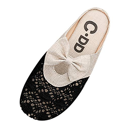 Women's Bow Linen Flat Slippers Comfy Knit Embroidery Hollow Flip Flops Sandals Vintage Floral Round Toe Slingback Casual Shoes (Black, 7 .5 M US)