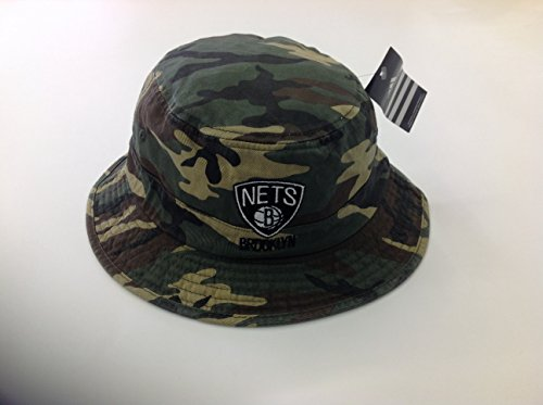 (Men's Brooklyn Nets Adidas Green Camo Bucket Hat)