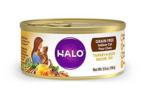 Halo Holistic Wet Cat Food for Indoor Cats, Grain Free Turkey and Duck Pâté 5.5 OZ of Indoor Cat Food, 12 Cans (Organic Duck)