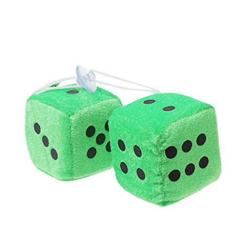 CHBC 1 Pair Fuzzy Dice Dots Rear View Mirror Hanger Decoration Car Styling Accessorie (Green) -