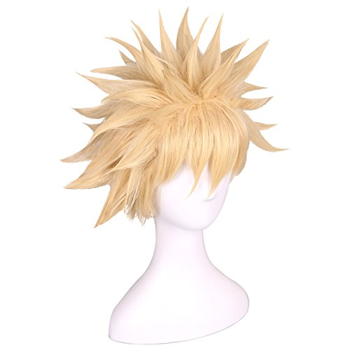 ColorGround Short Afro Fluffy Anime Cosplay Wig (Blonde)]()