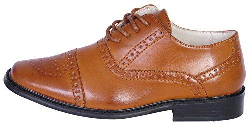 Image of Joseph Allen Boys Cap Toe Oxford Dress Shoe, Tan, Size 13