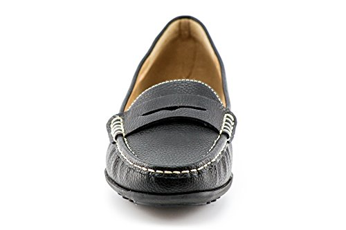 Comfort KIKI Women's on CALICO Mocassins Penny Shoes Loafers Black Flats Slip Boat qACdxEwx