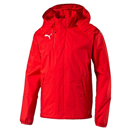 Puma Windbreaker Jacket - PUMA Mens Rain Jacket Veloce Windbreaker Hooded Raincoat Sports Jacket 654640 (Medium) Red/White