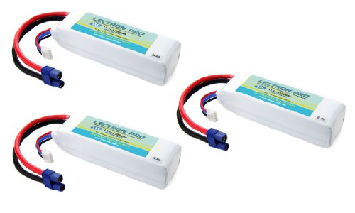 3-Pack of Lectron Pro 11.1 volt - 2700mAh 35C Lipos with EC3 Connectors for Blade 350 QX by Common Sense RC