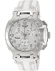 Tissot Womens T-Race Swiss Quartz Stainless Steel and Rubber Sport Watch, Color:White (Model: T0484171701200)
