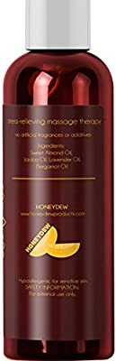 Relaxing Massage Oil - Intense Aromatherapy Oil for Erotic Massages & Sore Muscle Relief – Detoxifying Body Care with Almond Lavender Essential Oil Bergamot & Jojoba - For Him & Her by Honeydew