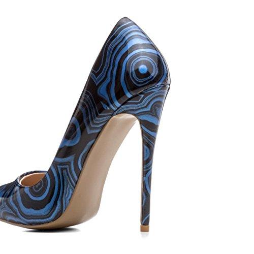 Mujeres Estilete Alto Talones Zapatos Raya Cerrado Puntiagudo Dedo del pie Zapatillas Trabajo Inteligente Vestir tamaño 35-42 Blue
