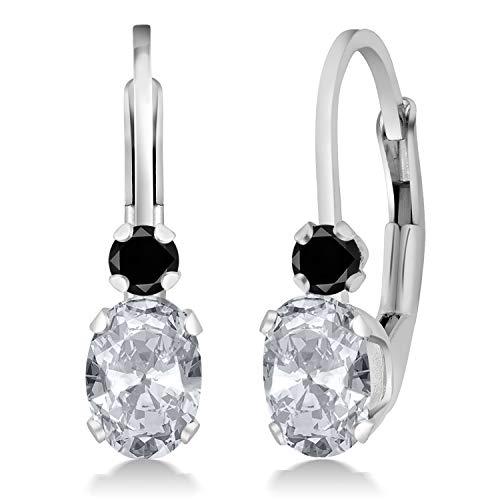 Gem Stone King 1.07 Ct Oval White Topaz Black Diamond 925 Sterling Silver 3/4 Inch Earrings