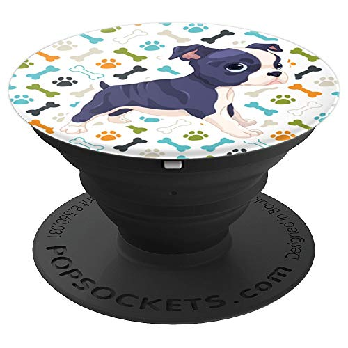 (Cute Boston Terrier Paw Print Funny Gift Man Women & Kids - PopSockets Grip and Stand for Phones and Tablets)