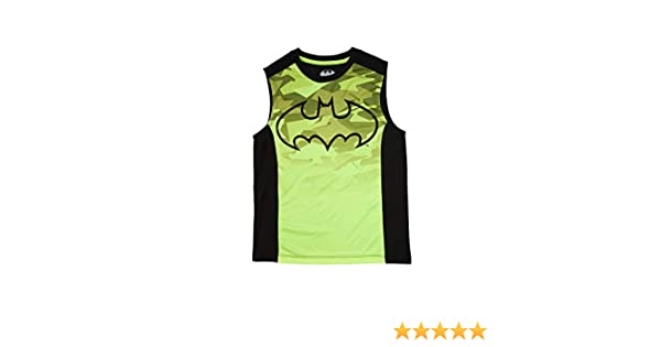 Batman Boys Acid Yellow /& Black Sleeveless Muscle Tank Top