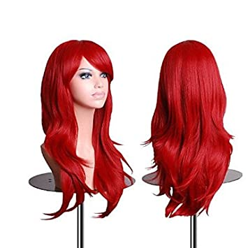 GSP-sin tapa peluca roja extra larga de alta calidad natural rizado sintético con golpe