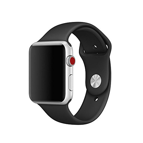 Icesnail Apple Watch Band 38mm 42mm [3 Pieces 2 Length] Soft Silicone Sport Replacement Strap for Apple Watch Series 3 Series 2 Series 1 Sport and Edition All Models, 38mm Black