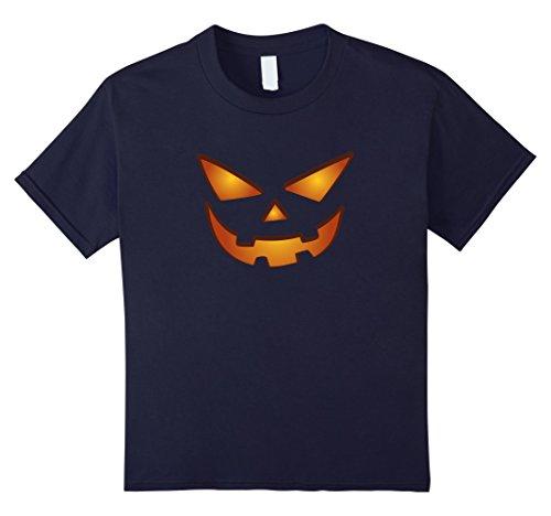 Kids Scary Jack-O-Lantern - Pumpkin Face - Cool Halloween Shirt 12 Navy (Cool Halloween Ideas Guys)