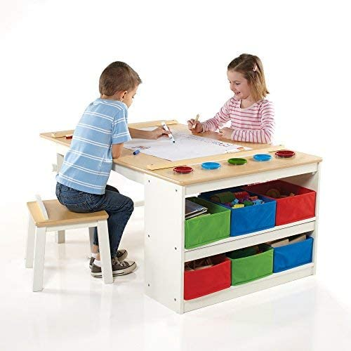 Guidecraft Arts and Crafts Center: Kids Painting and Drawing Desk with Stools, Storage Bins, Paper Roller and More - Children's Wooden Learning Furniture