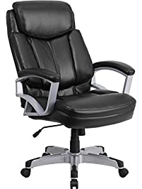 Flash Furniture HERCULES Series Big U0026 Tall 500 Lb. Rated Black Leather  Executive Swivel Chair With Arms