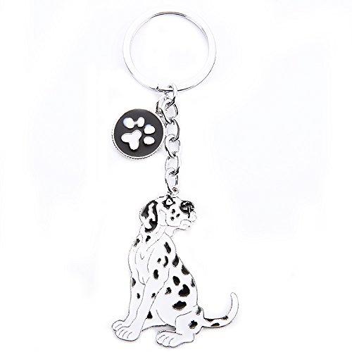 (Dog ID Tag,Cute Metal Dog Puppy ID Tag Keychain Keyring Keyfob Car Bag Charm Dog Tag Chains Birthday Christmas Gift (Dalmatian))