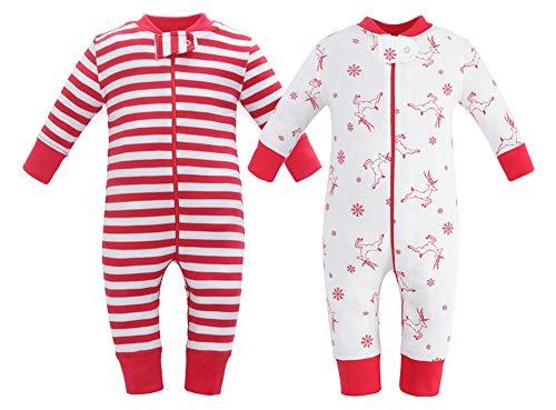 Sleeves Cotton Pajamas - Owlivia Organic Cotton Baby Boy Girl 2 Pack Zip up Sleep N Play, Footless, Long Sleeve(18-24Months, Deer+Stripe)