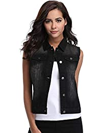 Womens Denim Jean Vest Washed Cropped Button Up Retro Ripped Sleeveless Jean Jacket