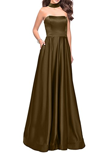Abschlussballkleider Einfach Brautjungfernkleider Braun Satin Lang Damen Abendkleider Charmant Traube Partykleider qInO7xwY