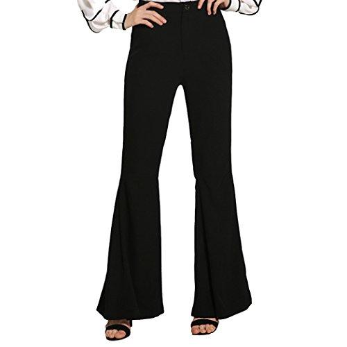 Autumn Melody Stylish Women Fish Tail Speaker Trousers High Waist Wide Leg Casual Pants Size S US (Black)