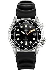 Phoibos Mens PX005C 1000M Dive Watch Swiss Quartz Black Sport Watch