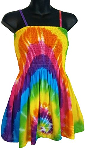Tie Dyed Shop Rayon Rainbow Spiral Tie Dye Baby Doll Convertible Top Skirt - Large (Womens Tie Dye Baby Doll)