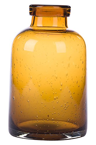 Glitzhome Hand Blown Bubble Tabletop Art Glass Vase 7.87 Inch, Amber Amber Blown Glass