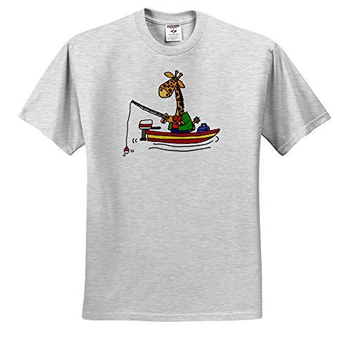 All Smiles Art Sports and Hobbies - Cute Funny Giraffe Fishing in Fishing Boat Cartoon - T-Shirts - Adult Birch-Gray-T-Shirt 2XL (Birch Gray T-shirt)