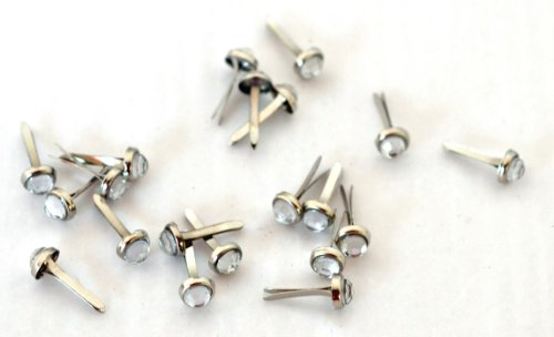 Art Mechanique 20-Piece Gem Brads, 5mm, Clear