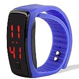 Popsport Striking Silicone LED Sport Bracelet Touch Digital Wrist Watch (Blue)