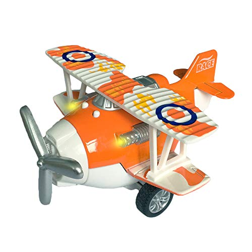 Birthday Gift for Kids Joyfun Alloy Toy Airplane Classic Biplane Pull-back Toy Vehicles Toys for 3-8 Year Old Girls Boys Christmas Thanksgiving Gifts JF-plane - Orange Airplanes