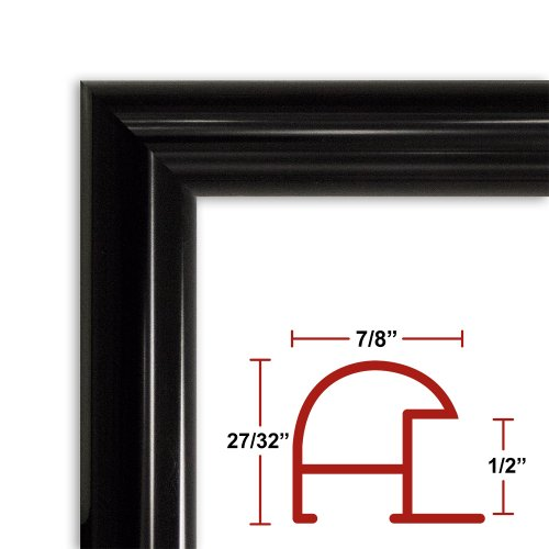 32 x 40 Shiny Black Poster Frame - Profile: #16 Custom Size Picture Frame by Poster Frame Depot