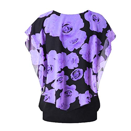- Willow S Women's Fashion Leisure Beachwear Round Neck Plus Size Ruffle Sleeve Floral Print Top Double Layer T-Shirt Purple