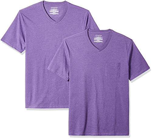 Amazon Essentials Men's 2-Pack Slim-Fit V-Neck Pocket T-Shirt, Purple Heather, Medium