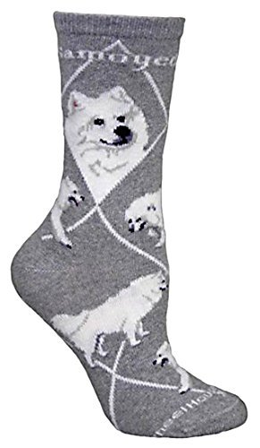 Samoyed Gray Ultra Lightweight Cotton Crew Socks ,Gray,One Size Fits Most (Womens Sock 8-11)