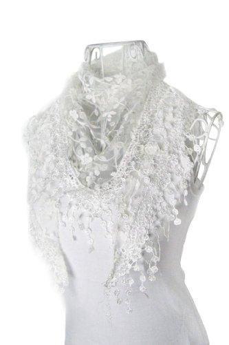 DaySeventh Fashion Lace Tassel Sheer Burntout Floral Print Triangle Mantilla Scarf Shawl - Scarf Lace Print