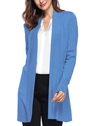 Spicy Sandia Open Front Knit Cardigans for Women Lightweight Cover-up Long Sleeve Cardigan Sweaters, Blue, Large ()
