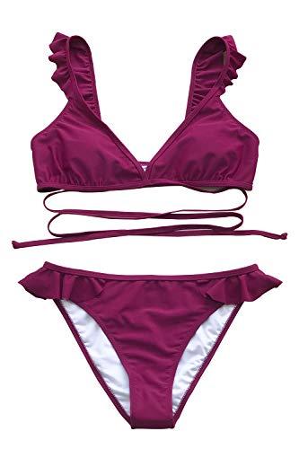 CUPSHE Women's Falbala Cross Design Bikini Set Sugar Plum Beach Swimwear Small