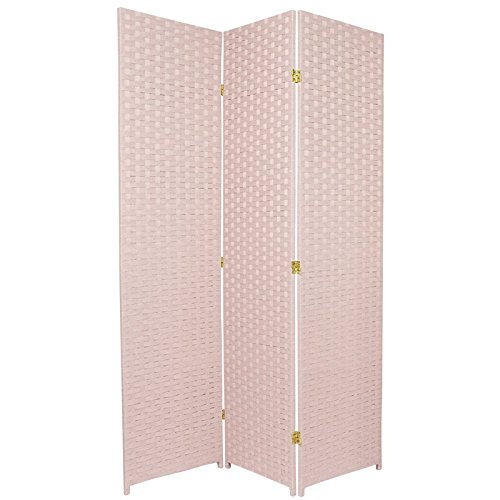 ORIENTAL FURNITURE Femine Decor Privacy Screen, 6-Feet Tall Woven Fiber Room Divider, Special Edition, Pink
