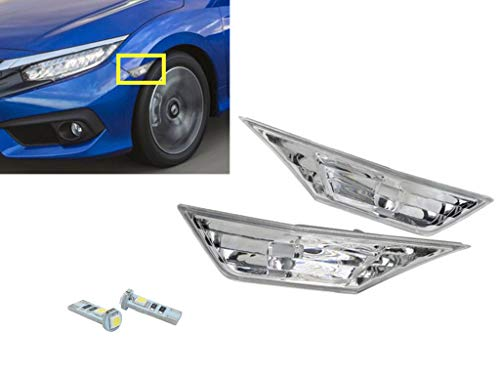 - eLoveQ Front SIDE MARKER SIGNAL LAMPS + T10 SMD LED BULBS FOR 2016-2019 HONDA CIVIC (Clear Lens With LED Bulbs)