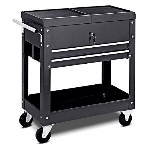 Matco Tool Cart - Rolling Tool Cart Mechanics Slide Top Utility Storage Cabinet Organizer 2 Drawers