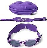 Tuga Baby/Toddler UV 400 Sunglasses w/ 2 Straps & Case, Purple