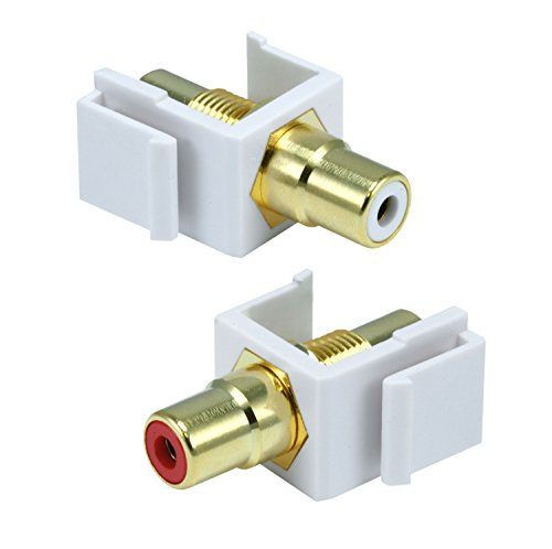 WennoW (2 Pc) White Keystone RCA Audio CONNECTORS RED & White Coupler Insert Wall Plate
