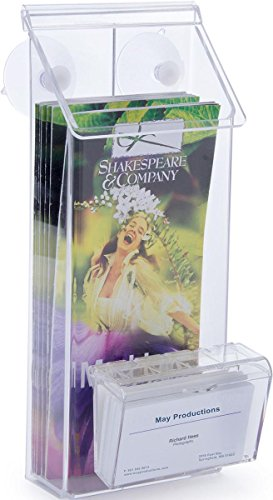Outdoor Brochure Holder with Business Card Holder, Glass Mount with Suction Cups Included, Clear Acrylic - Set of 2 Clear Business Card Window
