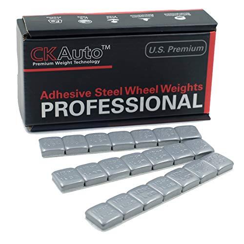 CK Auto 1/2oz, 0.5oz, Grey, Adhesive Stick on Wheel Weights, GM, Ford, Chrysler, 63 oz/Box, US Quality, (126pcs) ()
