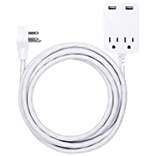 GE 2 Outlet 2 USB Surge Protector, 12W/2.4A Total USB, 12 ft Braided Extension Cord, Flat Plug, for iPhone 11/Pro/Max/XS/XR/X/8, iPad Pro, Samsung Galaxy, Google Pixel, 250 Joules, White/Gray, 38432
